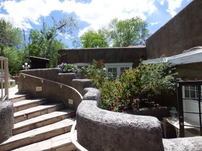 The steps leading to the back terrace at Rancho de Chimayo.