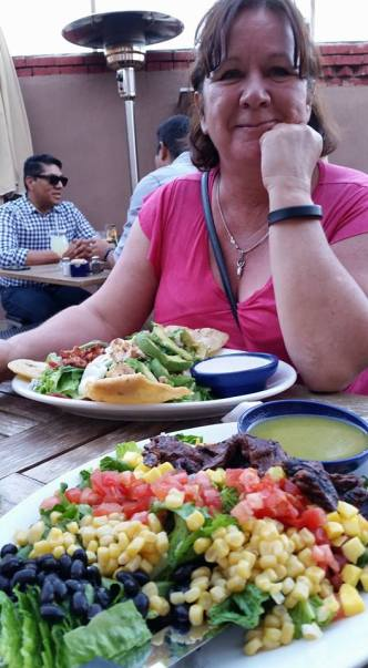 Steak and Cobb salads at Blue Corn Café.