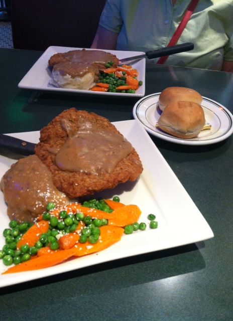 Chicken fried steak, mashed potatoes with brown gravy and mixed vegetables at the Plaza Café.