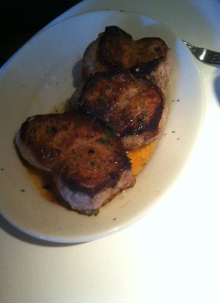 Blackened pork chops at The Bull Ring.