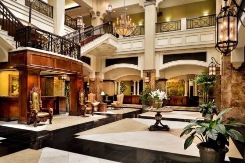 The lobby at the Grandover Resort.