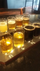 Beer flight at Downtown Drafts.